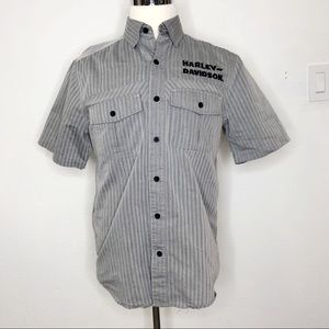 Harley Davidson Gray Short Sleeve Button Down M